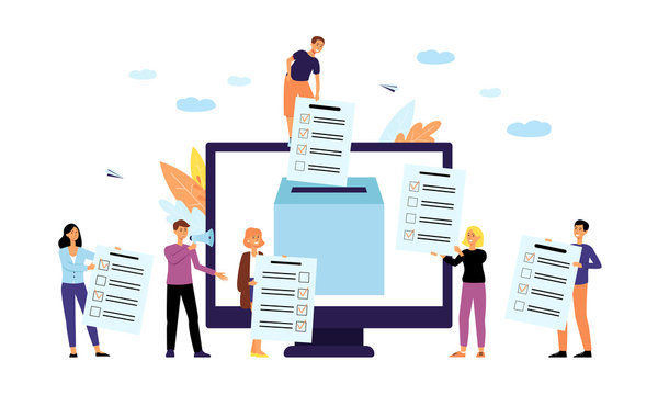 Online polling or survey concept with people flat vector illustration isolated.
