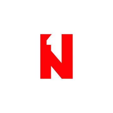 letter N 1 icon logo design concept