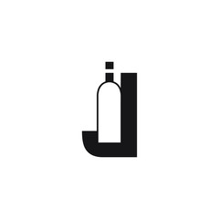 letter J bottle icon logo design concept