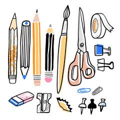 Stationery vector illustration. Pencil, sharpener, brush, eraser hand drawn school supplies