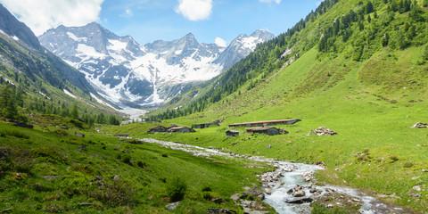 Wall Mural - Panorama einer Berglandschaft mit Gletscher und Gebirgsbach