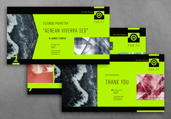 Presentation Layout with Marble Elements and Neon Green Accents