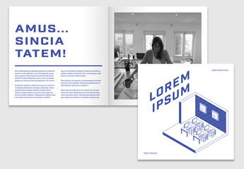 Square Brochure Layout with Blue Accents