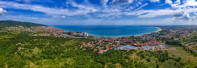 Amazing aerial panorama drone view of bay Sunny Beach, Nessebar, and Sveti Vlas, Bulgaria