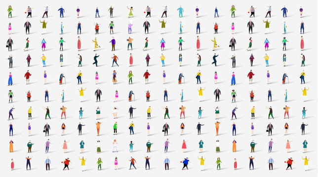 Many people. Background with silhouettes man and woman of different ages and professional backgrounds