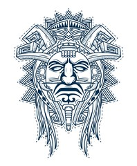 scary mask of the gods of the people aztec