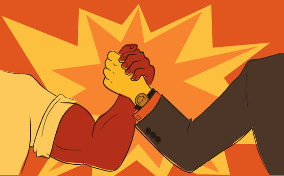 Worker and businessman arm wrestling, EPS8 vector illustration in the style of  retro propaganda posters