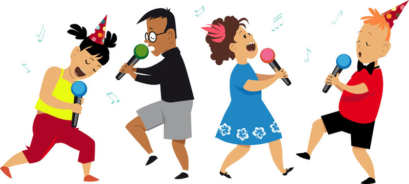 Four kids singing at a karaoke party, EPS 8 vector illustration