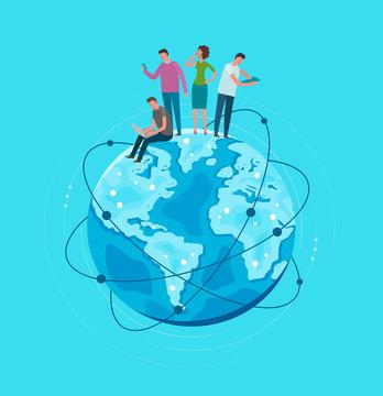 Metaphor Earth globe planet. Global network, communication. Vector illustration