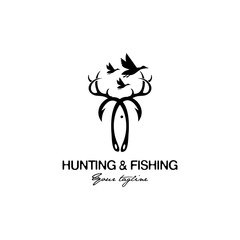 hunting and fishing logo design
