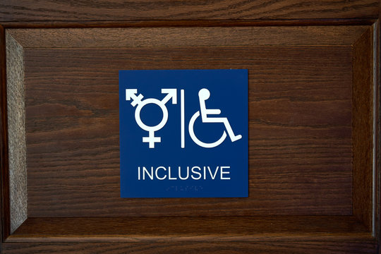 ADA Compliant Gender Inclusive Symbol Restroom Wall Sign with Wheelchair Symbol and braille