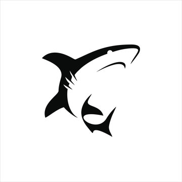 simple shark silhouette black color illustration for animal element idea