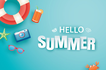 Hello summer with decoration origami on blue background. Paper art and craft style. Vector illustration of life ring, camera, sunglasses.
