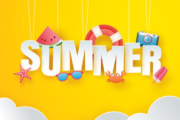 Hello summer with decoration origami hanging on yellow sky background. Paper art and craft style. Vector illustration of life ring, ice cream, camera, watermelon, sunglasses.