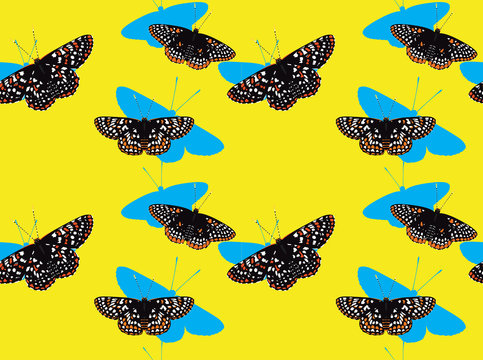 Butterfly Checkerspot Cartoon Background Seamless Wallpaper