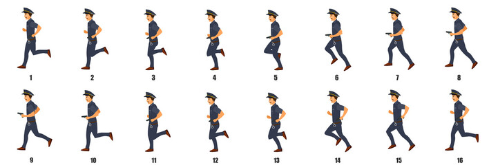 Police Character Run cycle Animation Sequence