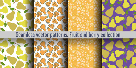 Pear seamless pattern set. Duchess. Fashion design. Fruit print for kitchen tablecloth, curtain or dishcloth. Hand drawn doodle wallpaper. Vector sketch background collection Wall mural