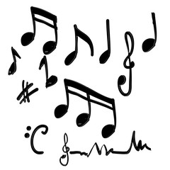 hand drawn music note element doodle vector