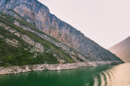 Awesome Mountain Rock Formation by the Yangtze River - Wu Gorge, Badong, Hubei, China