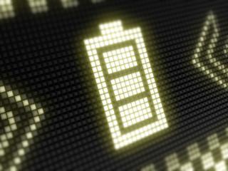 Battery icon in a digital screen.