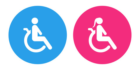 Disabled person icons. Man and woman in wheelchair. Vector.