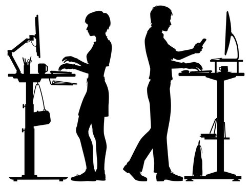 Office workers standing desks silhouette