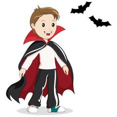 Boy in vampire costume