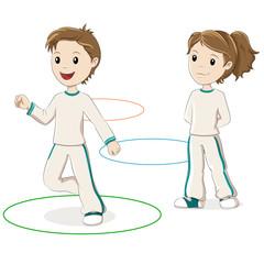 Children jumping hoops