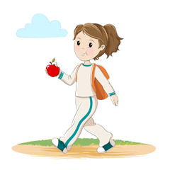 Girl with apple and backpack walking