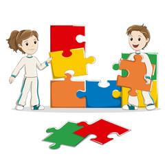 Kids making a jigsaw