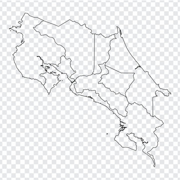 Blank map Costa Rica. High quality map of  Costa Rica with provinces on transparent background for your web site design, logo, app, UI. Stock vector. Vector illustration EPS10.