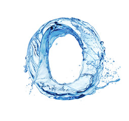letter O made of water splash isolated on white background