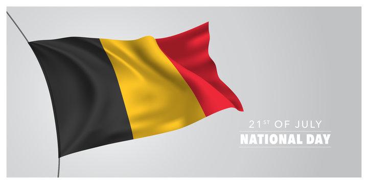 Belgium happy national day greeting card, banner, horizontal vector illustration