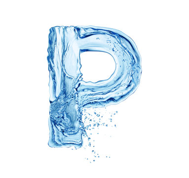 letter P made of water splash isolated on white background