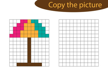 Copy the picture, pixel art, beach umbrella cartoon, drawing skills training, educational paper game for the development of children, kids preschool activity, printable worksheet, vector illustration