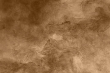 Brown smoke background. Brown dust particle exhale in the air.