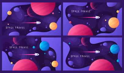 Set of vector illustration on the topic of outer space, interstellar travels, universe and distant galaxies