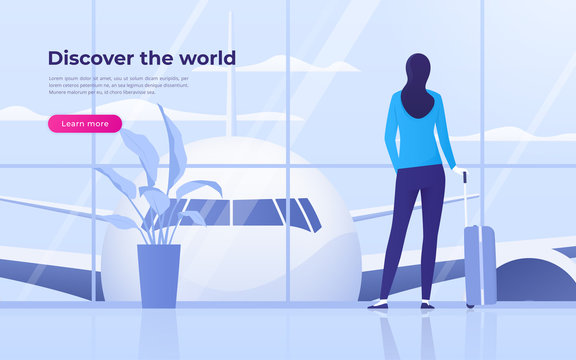 Vector illustration of a traveling young woman looking at the plane at the airport terminal