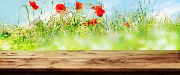 Fotoväggar - Wooden table with flower meadow background