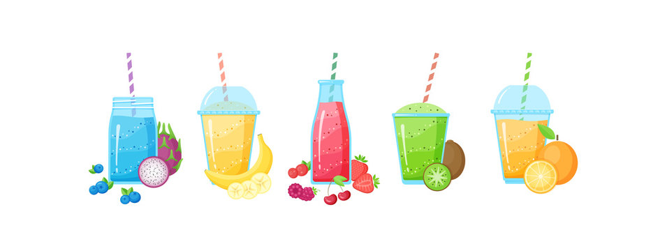 Fresh fruit smoothie shake cocktail set vector illustration. Isolated on white background collection of glass with layers of sweet vitamin juice cocktail with fruits for smoothies summer menu