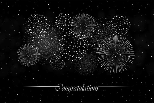 Big realistic firework show on night sky background. Independence day concept. Congratulations background. Luxury abstract. Explosion concept. Galaxy show. Vector illustration