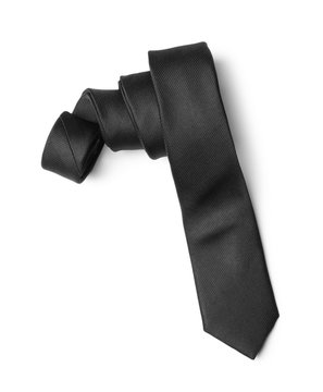 Classic black male necktie isolated on white