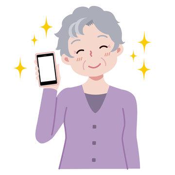 おばあちゃん スマホ 笑顔 イラスト