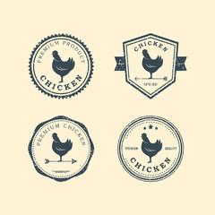 Set of premium chicken labels, badges and design elements. Vector Illustration. Chicken logo.