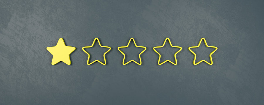 One of Five Stars Rating, Very Bad Rating Concepts