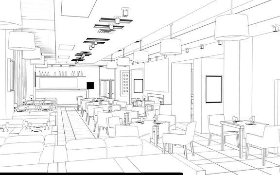 restaurant, 3D illustration, sketch, outline