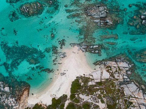 Drone photo from cavallo island in the Lavezzi park, Corsica, france