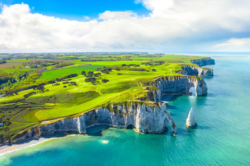 Picturesque panoramic landscape on the cliffs of Etretat. Natural amazing cliffs. Etretat,...