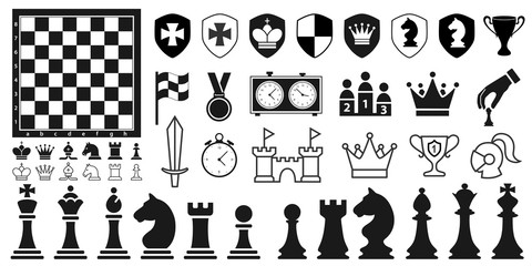 Set of black chess pieces icons in flat style on the white background. Vector illustration