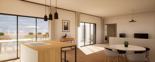 Obraz vue 3d grande pièce de vie avec vue sur terrasse et piscine - fototapety do salonu